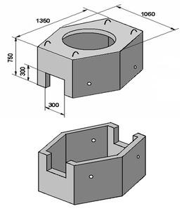 Колодец ККС-3 имеет в сечении восьмиугольную форму, два отверстия для ввода каналов на торцевых гранях и четыре ниши...